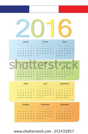 French 2016 vector color calendar. Week starts from Monday. - stock vector