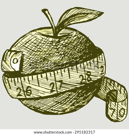 Fresh apple and measure tape. Vector Image - stock vector