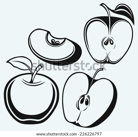 Fresh apple with leaf and slice isolated on blue background - stock vector