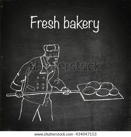 Fresh bakery. Baker shop. Hand drawn vector stock illustration. Chalk board drawing - stock vector