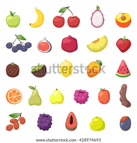 Fresh berries fruits. Mixed fruits berries big set and fruits berries healthy eating, dieting berries, love fruits. Many fresh fruits berries and sweet strawberry juicy natural organic berries vector. - stock vector