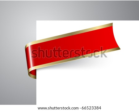 Fresh Christmas corner ribbon- red paper with golden borders - stock vector