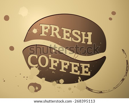 Fresh Coffee Retro Coffee Stained Card, Vector Illustration.  - stock vector