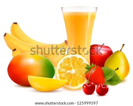Fresh color fruit and juice. Vector illustration - stock vector