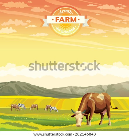 Fresh farm products. Herd of cows in green field. Vector rural nature landscape. - stock vector