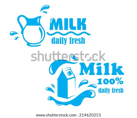 Fresh farming milk emblem or logo symbol with jug, package and text Milk 100 percent Daily Fresh,  suitable for food and agriculture design - stock vector