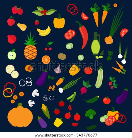 Fresh flat fruits and vegetables with icons of tomatoes, corn, carrots, bananas, apples, orange, pumpkin, pineapple, peppers, strawberry, cucumber, olive oil, cherry, onion, mushrooms, potato etc - stock vector