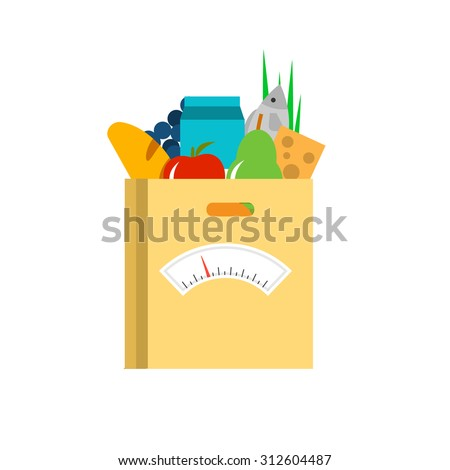 Fresh food in a paper bag with scale. Diet concept, vector illustration - stock vector
