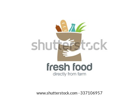 Fresh Food Shopping Logo design vector template. Hands Holding Bag Logotype concept negative space icon. - stock vector