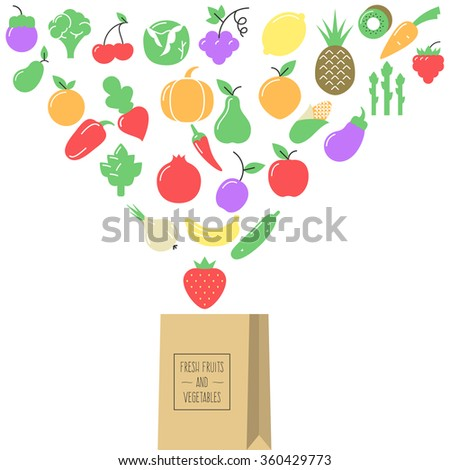 Fresh fruit and vegetables fly in a paper bag, natural and healthy food. Concept vector illustration for your web design or banner for business - stock vector