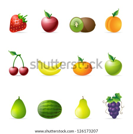 Fresh fruit icons in colors - stock vector