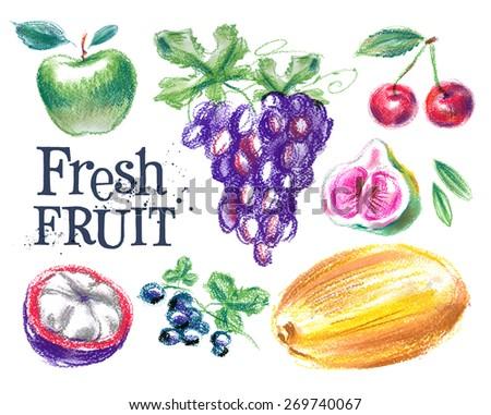 fresh fruit vector logo design template. ripe food or harvest icon. - stock vector