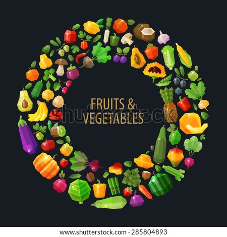 fresh fruits and vegetables in the circle vector logo design template. food, farm or gardening, horticulture icon. flat illustration - stock vector