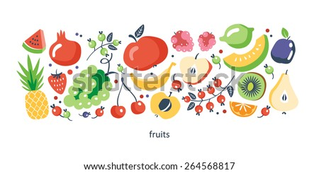fresh fruits collection - stock vector