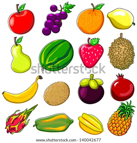 Fresh Fruits Doodle Style - stock vector