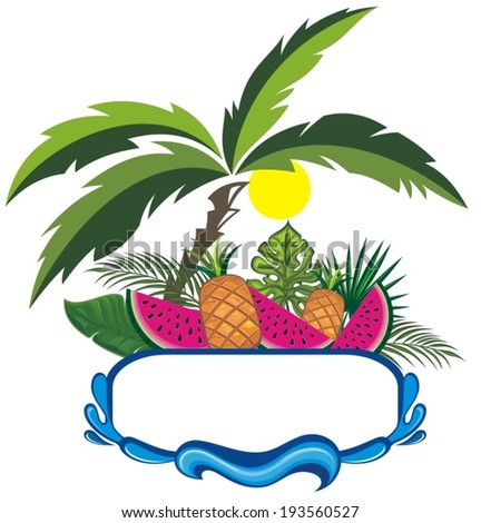 Fresh Fruits on the beach  - stock vector