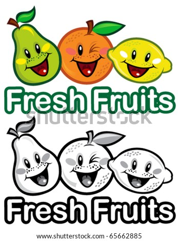 Fresh Fruits Seal, in color and B&W - stock vector