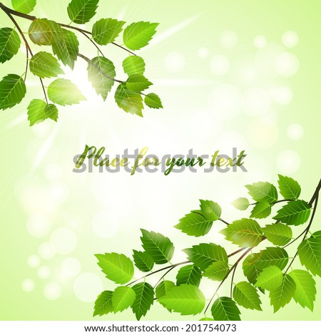 Fresh green background with spring leaves in two opposing corners over a boheh of sparkling sunlight with copyspace  square format vector - stock vector