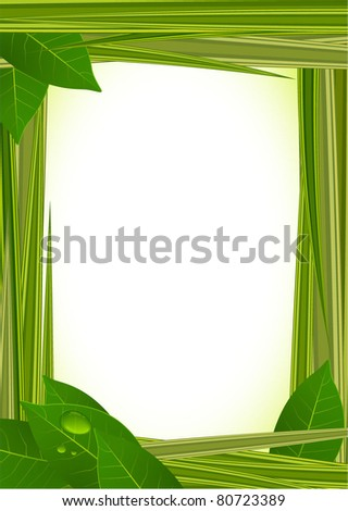 Fresh green grass vector frame with clear water drops. - stock vector