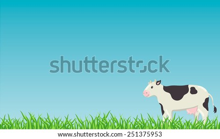 Fresh green grass with daisies and white cow on blue sky background - stock vector
