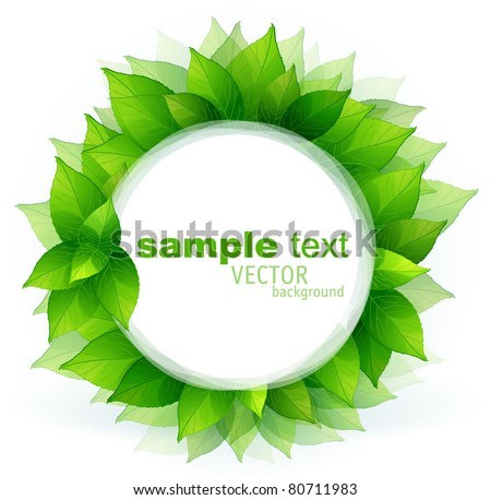 Fresh green leaves vector border. - stock vector