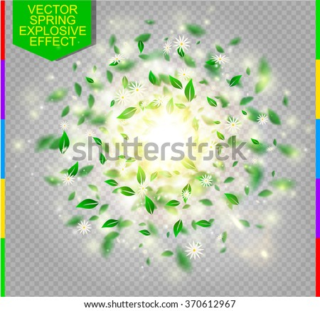 Fresh green spring vector splash with white flower, green leaves and light effect. Abstract glowing sparkling explosive with daisy, sun and spark on transparent background - stock vector