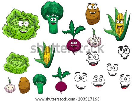 Fresh grocery vegetables set with a lettuce, broccoli, potato, garlic, beetroot and corn on the cob all with happy smiling cartoon faces - stock vector