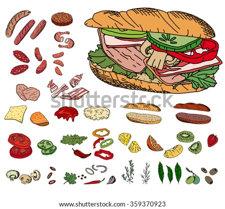 Fresh ingredients - vegetables, cheese, mushrooms, herbs and meat - for sandwich. Objects isolated on white. For your design, announcements, cards, posters, restaurant and cafe menu. - stock vector