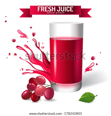Fresh juice background with grapes and mint - stock vector