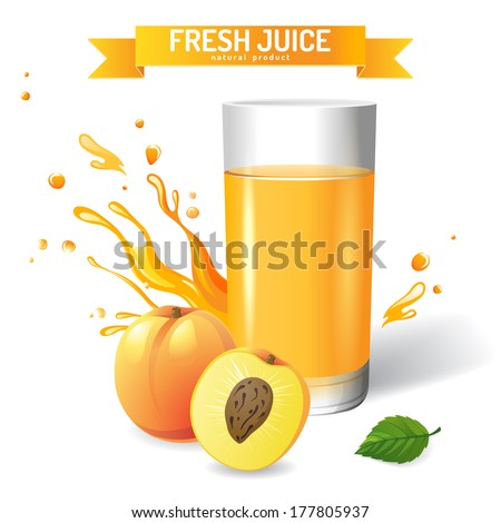 Fresh juice background with peach and mint - stock vector
