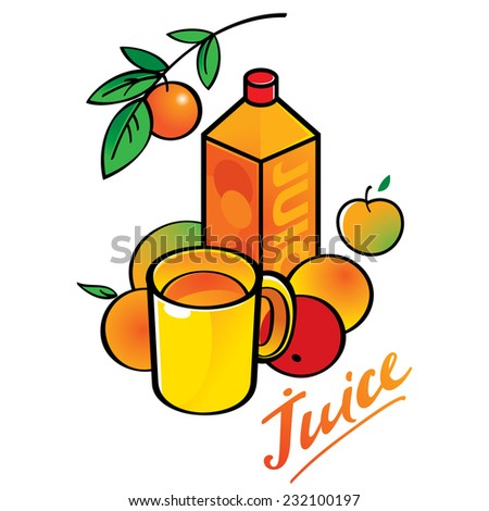 Fresh juice - pack and cup, fruits and vegetables - stock vector