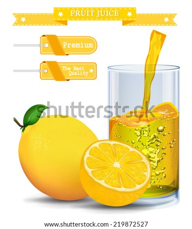 Fresh lemon and glass with juice. Vector illustration.  - stock vector
