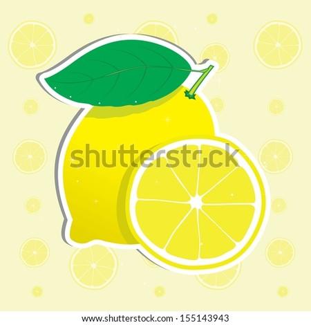 Fresh lemon and lemon slice. Vector illustration.  - stock vector