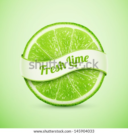 fresh lime with ribbon eps10 vector illustration - stock vector