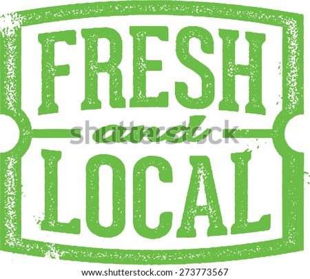 Fresh & Local Market Stamp - stock vector