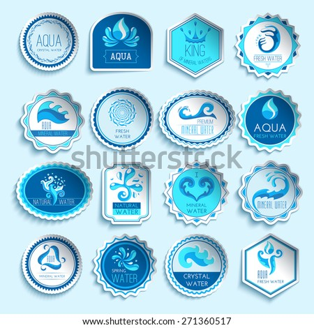 Fresh mineral water paper sticker labels set isolated vector illustration - stock vector