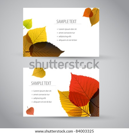 Fresh natural fall vector vertical banners or cards with leafs and sample text - stock vector