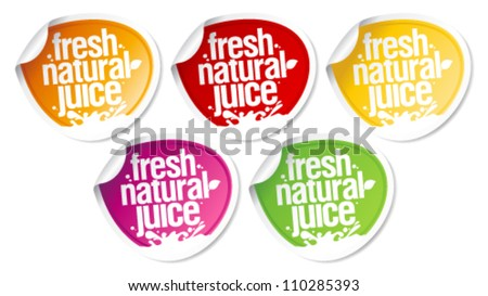 Fresh natural juice stickers set. - stock vector