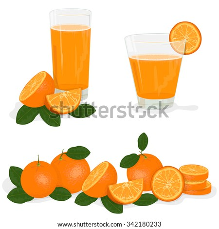 Fresh orange and glass with juice,  Splashing. - stock vector