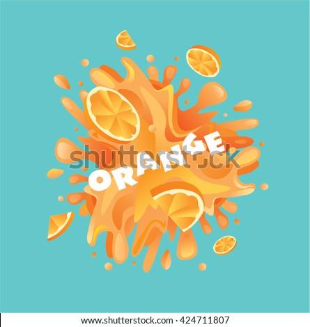 Fresh orange fruit juice splash - stock vector