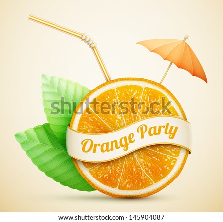 fresh orange with ribbon and cocktail stick eps10 vector illustration - stock vector