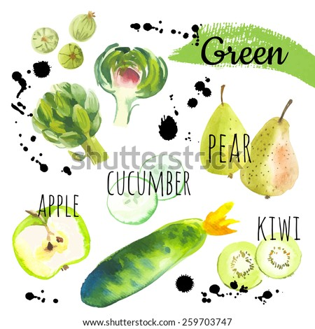 Fresh organic food. Set of different fruits, vegetables and berries: gooseberry, pear, artichoke, apple, kiwi & cucumber. Simple painting sketch in vector format. Green set. - stock vector