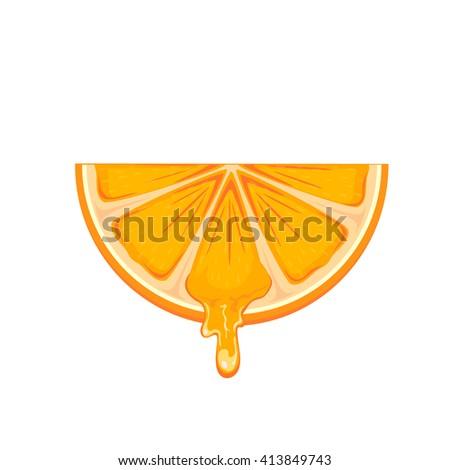 Fresh ripe orange slice isolated on white background, illustration. - stock vector