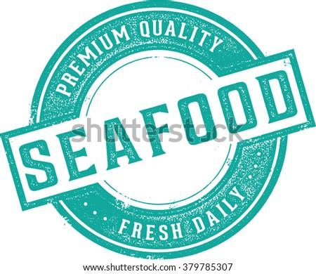 Fresh Seafood Restaurant Menu or Market Stamp - stock vector
