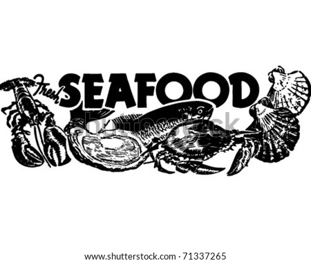 Fresh Seafood - Retro Ad Art Banner - stock vector