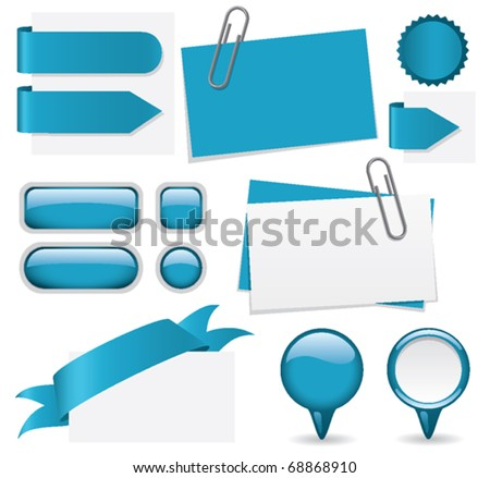 Fresh set of ocean blue website elements. Customize with your text. - stock vector