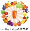 fresh smoothies surrounded by fruit with sunburst - stock vector