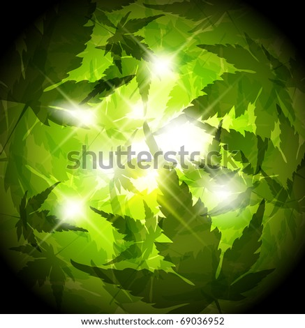 Fresh spring green leafs abstract background with place for your text - stock vector