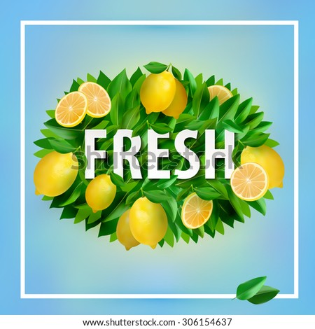 Fresh summer background with lemons and leaves.  Summer typographic. Vector illustration EPS 10 - stock vector