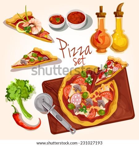 Fresh tasty italian food pizza set with plate ingredients seasoning isolated vector illustration - stock vector